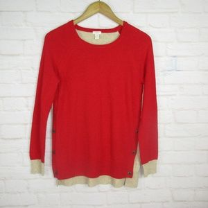 J.Crew women's size S Wool Blend Red and Tan Butto